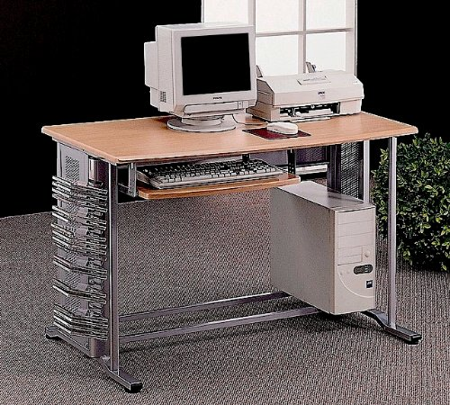 Buy Low Price Comfortable Computer Workstation Desk With CD Storage And Pullout Keyboard Tray In Brushed Aluminum Finish. (Item# Vista Furniture CF7009) (B004YMVZSQ)