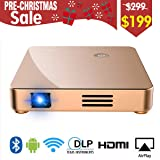 Projector, Upgraded SeeYing DLP Mini Portable Projector 1080P, 30% Lumens, 170'' Display, Support Fire TV Stick Airplay WiFi Bluetooth HDMI VGA AV SD for Home Theater Entertainment (Color: Gold)