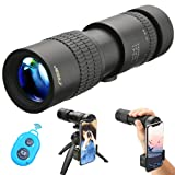 UNEGROUP High Power Monocular Telescope, HD Low Night Vision Waterproof Compact Spotting Scope with Smartphone Holder, Wireless Control & Tripod - FMC BAK4 Prism for Bird Watching, Camping, Hiking (Color: Black1)