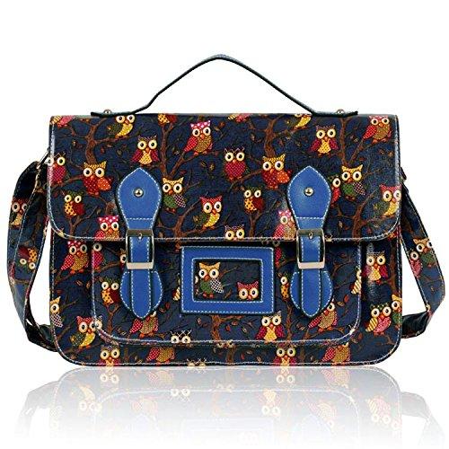 Girls Navy Blue Owl Print Satchel Messenger Bag Shoulder Bag School Bag 2016new rucksack luxury backpack youth school bags for girls genuine leather black shoulder backpacks women bag mochila feminina