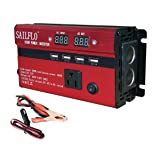 SAILFLO 500W Power Inverter DC 12V to AC 110V Car Adapter with 5A 4 USB Charging Ports (500W) (Color: 500W)