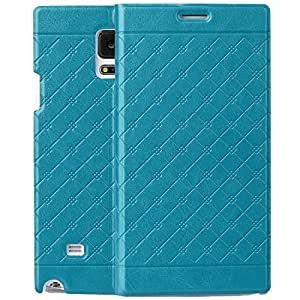 Skyblue Retro lattice pattern Stitch Samsung Galaxy Note 4 Wallet Case Executive Premium Pu Leather Flip Cover Folio with Stand