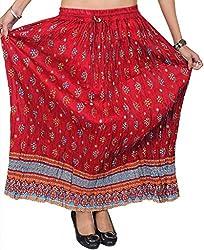 Odishabazaar Red Printed Cotton Calf Length Skirt For Women