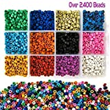 Over 2,400 Ceramic Tube Beads for Jewelry Making with Free Genuine Leather Cord Necklace - Handmade Colorful Premium Quality Craft Bead Kit - Unique Craft Supplies (Color: Over 2,400 beads)