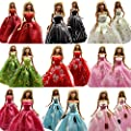 5 Pcs Handmade Fashion Wedding Party Gown Dresses & Clothes for Barbie Doll Xmas Gift by Barwa