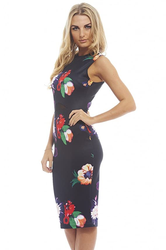 AX Paris Women's Floral Bodycon Midi With Mesh Insert Dress