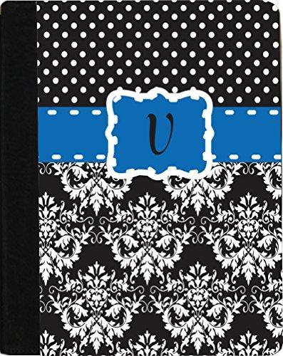 "Rikki Knighttm Rikki Knight Initial ""V"" Lime Green Black Damask Dots Monogrammed Design Kindle Fire Hd 8.9"" (2012 Version) Notebook Case Black Faux Leather (Measures 9.5"" X 6.5"") front-589519"