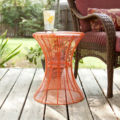 Sei 18 5 inch indoor outdoor round metal accent table for Orange outdoor side table
