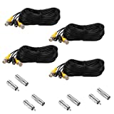 Henxlco 4 Pack 50 feet Security Camera Video Power Cable Pre-made All-in-One BNC RCA Extension Cable Surveillance DVR CCTV System Cord Wire (Color: 4x50ft Video power black cables, Tamaño: 50 feet)