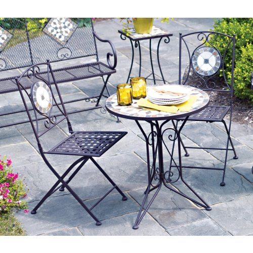 Living accents slate bistro 3 piece set one table and two for Living accents patio furniture