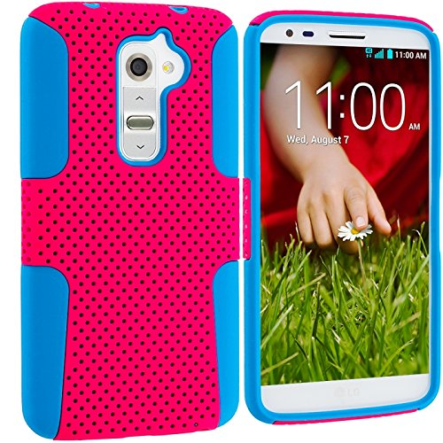 Cell Accessories For Less (Tm) Baby Blue / Hot Pink Hybrid Mesh Hard/Soft Case Cover For Lg G2 Sprint, T-Mobile, At&T + Bundle (Stylus & Micro Cleaning Cloth) - By Thetargetbuys front-889112