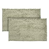Just linen Pair of Chenille Pom Pom antiskid steel grey Floor mats