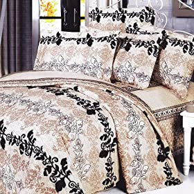 Blancho Bedding - Beige Brown Classic 100% Cotton Comforter Cover/Duvet Cover Combo