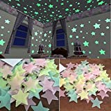 one pack Glow In The Dark Plastic Stars Stickers Baby Kids Ceiling Wall Room Nursery Room Decal Baby Kids Gift (100pcs)