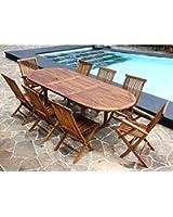 Salon de jardin teck huilé 8/10 personnes - Table ovale larg 100cm long 180/240cm + 6 chaises + 2 fauteuils pliants