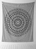 "Marubhumi"" Elephant Mandala Hippie Tapestry Indian Traditional Throw Beach Throw Wall Art College Dorm Bohemian Wall Hanging Boho Twin Bedspread (1, Black &White 1)"