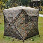 Pop Up Ground Hunting Blind Tent with 7 Zippered Windows, 2 Convenient Camo Storage Pockets Inside Tent