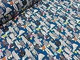 くま百景 ブルー青 オックス生地  |ベア|アニマル|動物|かわいい|綿|コットン|布|入園入学|