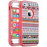 iPhone 5S Case,ULAK iPhone 5 Case 3in1 Hybrid Shield Shock Absorbing Patterned Hard Plastic with Soft Silicone Protective Case Cover For Apple iPhone 5S/5(Tribal+Coral Pink)