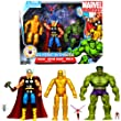 Hasbro Year 2010 Marvel Universe Series 3 SHIELD 3 Pack 4-1/2 Inch Tall Action Figure Set - CLASSIC AVENGERS with Iron Man, Thor and Green Hulk Plus 2 Mini Figures (Wasp and Ant-Man with Flying Ant)