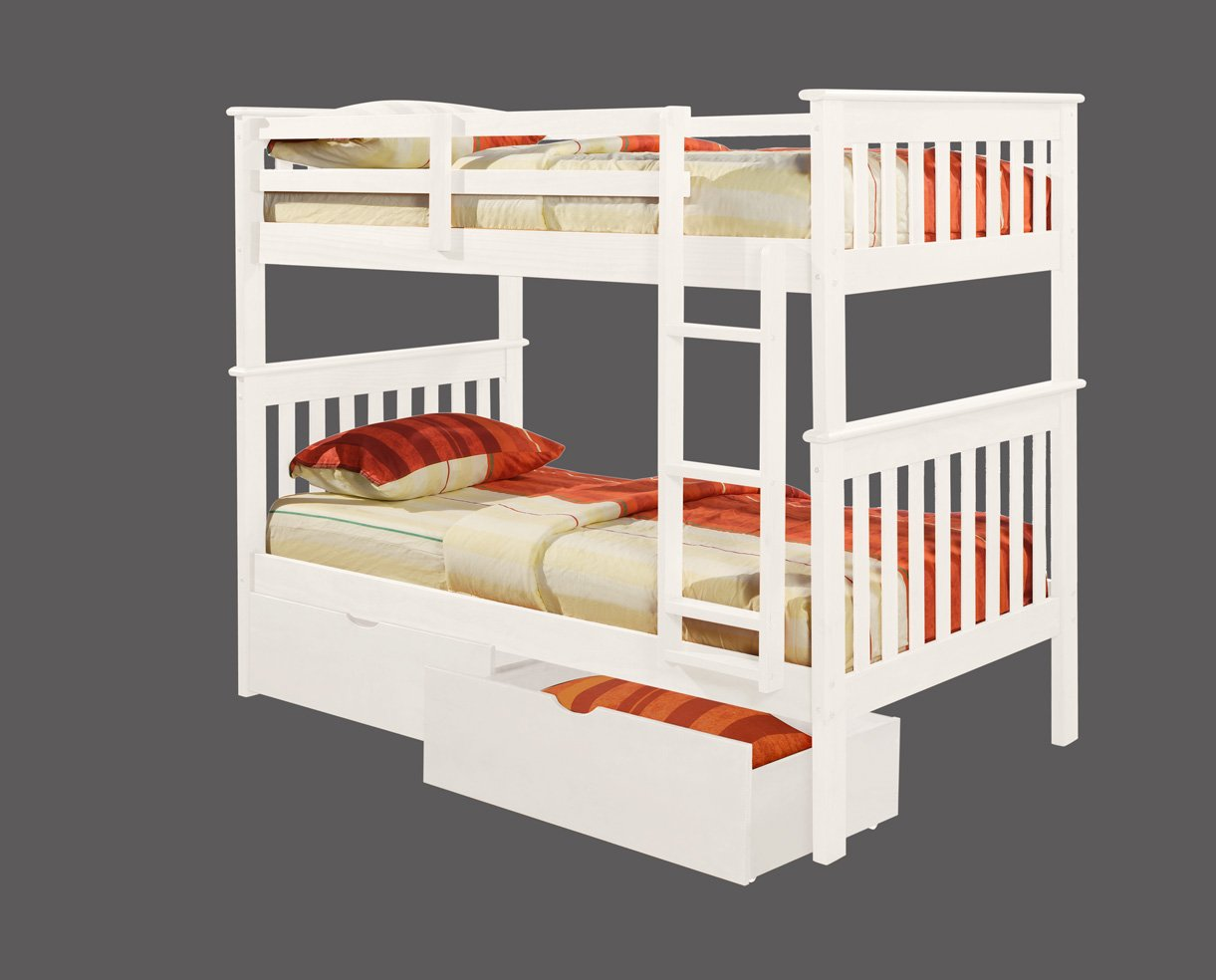 White wooden bunk beds for Wood twin bed with storage