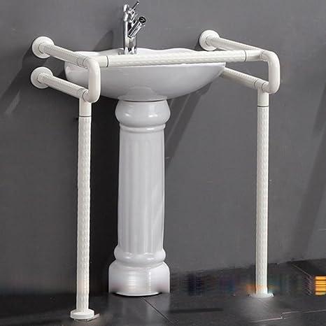 SAEJJ-Bassin de lavage avec piédestal lavabo bassin désactivé antibactérien sans barrière main courante glisser les mains courantes en nylon évier de salle de bain , white