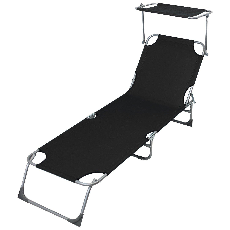 Sonnenliege mit stufenlos verstellbarem Sonnenschutz, 190x58cm, 4-fach verstellbare Rückenlehne, klappbar, Schwarz - Liegestuhl Gartenliege Klappliege Lounger Strandliege Badeliege Campingliege