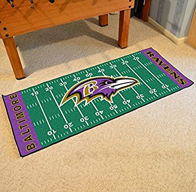 """Fan Mats 7344 NFL - Baltimore Ravens 30"""" x 72"""" Football Field-Shaped Runner Rug Mat"""