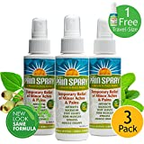 "Premiere's Pain Spray ""A Miracle in Every Bottle"" 3 Pack (Includes 1 Free 1 oz. Travel Size Spray Bottle) Safe Pain Relief Medicine, Fast Arthritis Pain Relief, Strong Backache Pain Relief Spray"