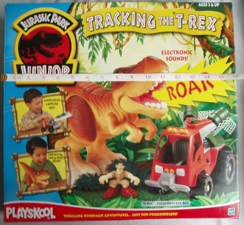 Jurassic Park Junior Playskool Tracking the T-Rex playset (inc. Tyrannosaurus Rex, Dino capture vehicle, human figure,exclusive Dilophosaurus !)
