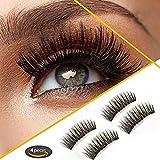 Magnetic False Eyelashes[No Glue], Cover the entire eyelids,Three Magnets, Premium Quality False Eyelashes Set for Natural Look & Handmade 4 PCS (3-magnetic)
