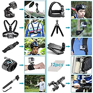 Go Pro Accessory Pack,icefox®50 in 1 Accessory Kit for GoPro Hero 4/3+/3/2/1 SJ4000/5000/6000 icefox, DBPOWER, QUMOX Underwater Waterproof Action Camera with Carrying Case by icefox