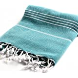 "Cacala 100% Cotton Pestemal Turkish Bath Towel, 37 x 70"", Aqua"