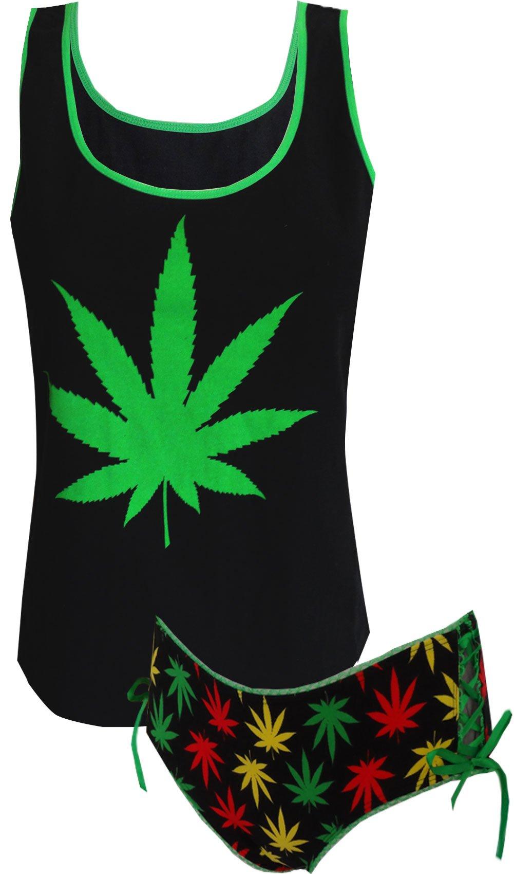 Ganja Weed Print Black Cami & Panty Set for women