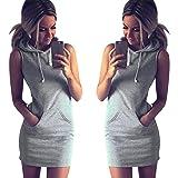 Pocciol Womens Fashion A-Line Elegant Summer Casual Sleeveless Hoody Dress (XL)