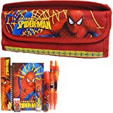 Spiderman Red Double Zipper Pencil Case with Stationery Set