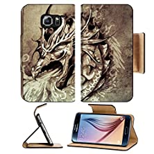 buy Msd Samsung Galaxy S6 Flip Pu Leather Wallet Case Sketch Of Tattoo Art Anger Dragon With White Fire On Vintage Paper Handmade Image 32342581