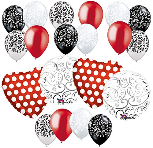 20 pc Red Polka Dot Hearts & Swirls Balloon Bouquet Wedding Baby Shower Bridal
