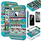 Pandamimi ULAK 3-Piece Hybrid High Impact Case Tribal Blue Silicone for iphone 4 4S +Screen Protector+Stylus