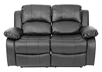 Fairmont Furniture Venice 2 Seater Recliner Loveseat Leather Sofa, Black, Faux Leather