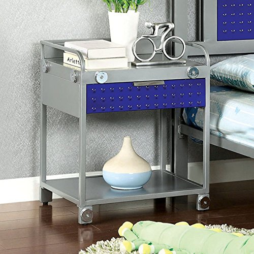 Furniture Of America Spencer Bolt Design Metal 1 Drawer Nightstand -, Silver front-1071124