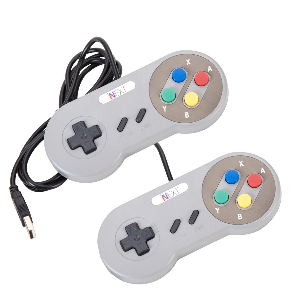 New SNES Super Nintendo Controller , Retro USB Super Classic Controller for PC/Mac (Multi Colored Keys) (Pack of 2)