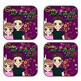 MeSleep Love Sister Wooden Coaster-Set Of 4