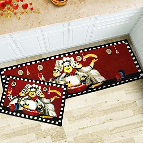MAXYOYO 2 Pieces Fat Chefs Kitchen Floor Mats Runner Rug Set,Kitchen Area Rug,Entrance Mat (3 chefs) (Chef Rug compare prices)