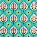 Tissu turquoise avec des feuilles par...
