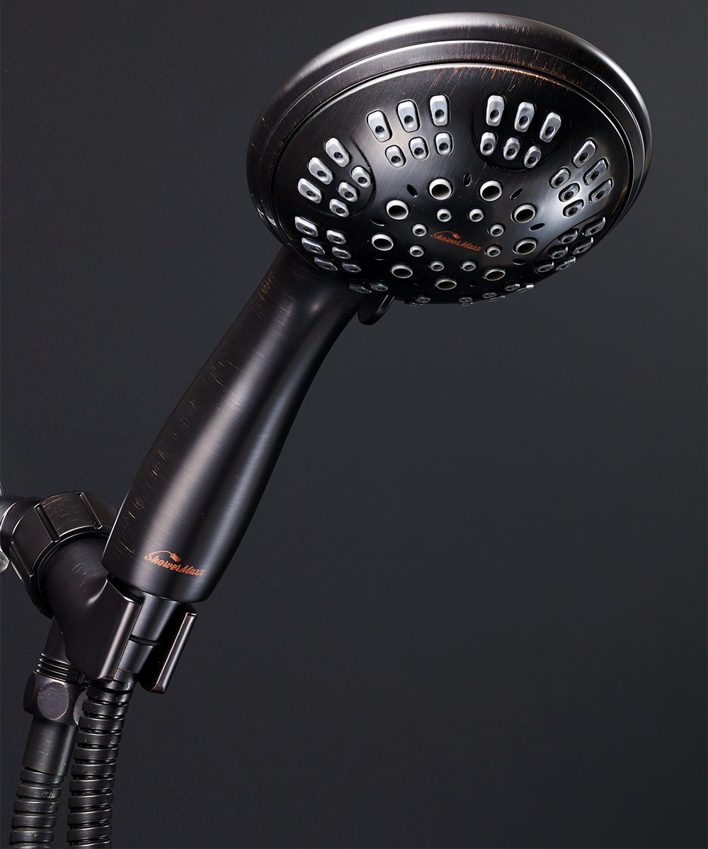 ShowerMaxx Shower Head Premium 6 Spray Settings | Luxury Spa Detachable Handheld Showerhead | Long Stretchable Stainless Steel Hose, Adjustable Mount & Teflon Tape | Oil Rubbed Bronze Hand Held Finish