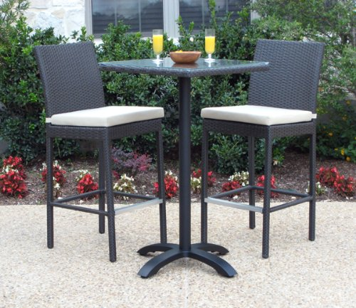 Outdoor Patio Wicker Furniture Resin 3 Pc Bar Table Barstool Set By Man