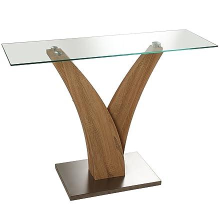 DonRegaloWeb–Tavolo di ingresso in metallo e vetro con stelo in colore legno