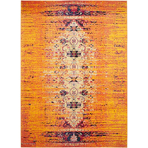 Safavieh Monaco Collection MNC209H Orange and Multicolored Area Rug, 5-Feet 1 inch by 7-Feet 7-Inch