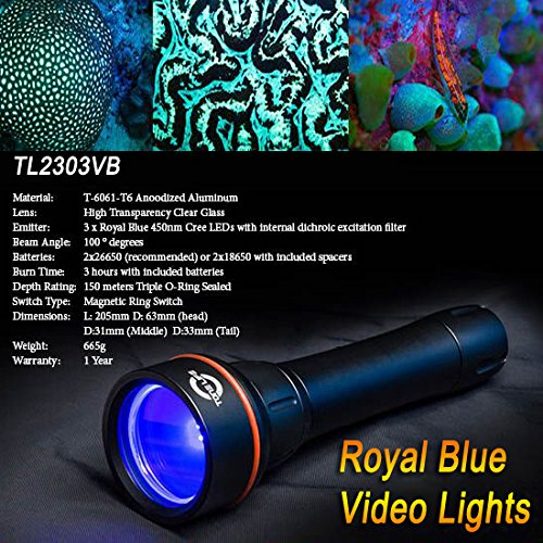 Tonelife Fluorodiving Fluo Night Dive Lights Reef Coral Royal Diving Video Torch Scuba Lamp with 3pcs 450nm Royal Blue Led 150m Waterproof,black (Torch+lanyard Only)